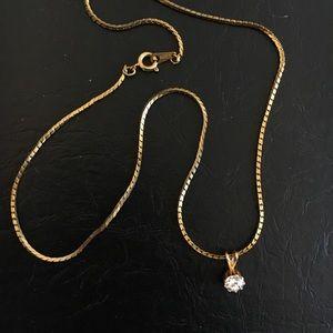 Vintage solitaire necklace pendant
